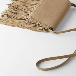 NWT Zara Khaki Split Leather Fringe Crossb…